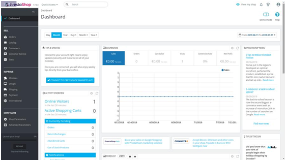 Ecommerce Platforms - Prestashop dashboard