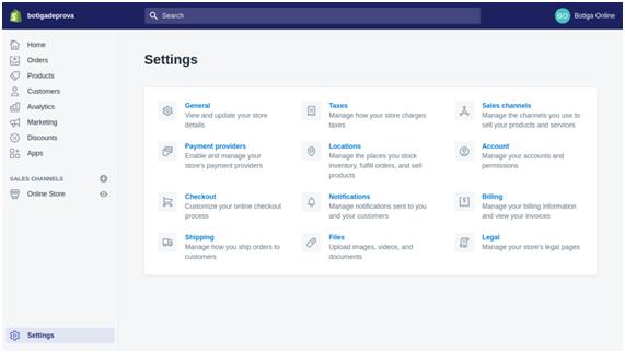 ecommerce platforms: Shopify dashboard